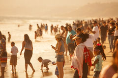 Crowded Santa Monica Beach Royalty Free Stock Photography