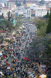 Crowded scene with crowd of people go to market Royalty Free Stock Photography