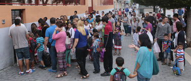 Crowded School entry time queue Stock Photos