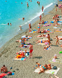 Crowded sea beach, Crimea Royalty Free Stock Images