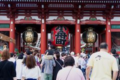 Crowded Senso-ji temple in Tokyo, Japan stock images