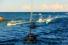Crowded Shipping Channels. Full of pleasure and fishing boats stock photo