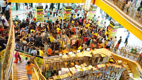 Crowded shoping centre, sale off season Stock Photos