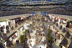 Crowded shopping center in christmas time Stock Image