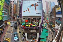 Crowded shopping street in Hong Kong Stock Photography