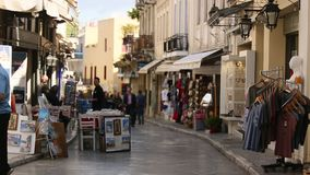 Crowded shopping street in Old town. Old town of Athens is one of the principal shopping districts in the city. stock footage