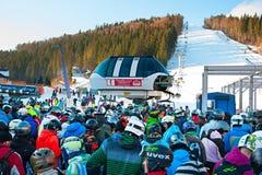 Crowded ski resort, Bukovel Royalty Free Stock Image