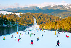 Crowded Ski resort Royalty Free Stock Photo