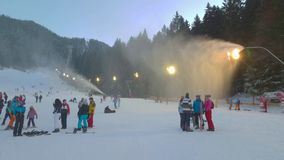 Crowded ski slope stock video