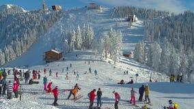 Crowded ski slope stock footage