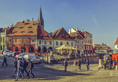 Crowded Small Square, Sibiu, Romania Royalty Free Stock Photo