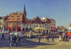 Crowded Small Square, Sibiu, Romania Royalty Free Stock Photo