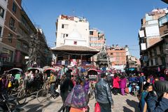 Crowded square of Kathmandu City Stock Images