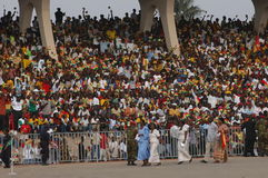 Crowded Stadium. March 6, 2007 - Locals pack a stadium in Accra, Ghana, as the country marks its 50th anniversary of independence from Britain in a state Royalty Free Stock Images