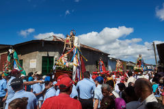 Crowded steet with people. Diriamba, Nicaragua - January 4, 2017: Crowded steet with people walking with dolls and celebrating San Sebastian Royalty Free Stock Images