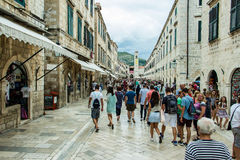 Crowded Stradun Placa in Dubrovnik`s Old Town, Croatia royalty free stock photography