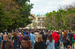 Crowded street in Athens, Greece Stock Photos