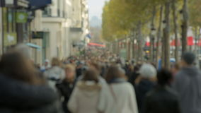 Crowded street Champs-Elysée in Paris. Tourists. stock footage