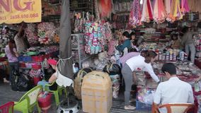 Crowded street in China town in Ho Chi Minh stock video footage