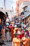 A Crowded Street in the Himalayas Stock Images