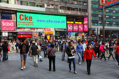 Crowded street in Hong Kong Royalty Free Stock Photo
