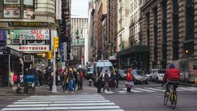 Crowded street intersection of 5th and 32nd st, New York stock photography