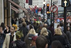Crowded street. London Regent street full of people Royalty Free Stock Images