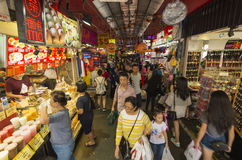 Crowded street market. At the Downtown area of Singapore Stock Images