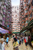 Crowded Street Market in Quarry Bay, Hong Kong Stock Images