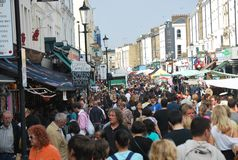 A crowded street in Nottinghill, London Stock Photo