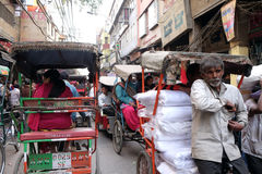 Crowded street in Old Delhi. Crowded Indian side street in Old Delhi, India Stock Images