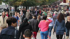 Crowded street, people walking in city, business, holiday