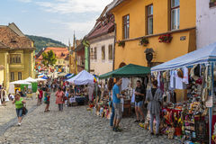 Crowded street, Sighisoara, Romania Stock Photos