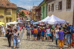 Crowded street, Sighisoara, Romania Stock Photography