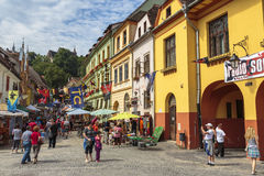 Crowded street, Sighisoara, Romania Royalty Free Stock Photo