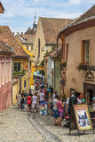 Crowded street, Sighisoara, Romania Stock Photo