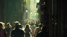 Crowded street. Slow motion 4k