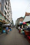 Crowded street in Yangon. Street food stalls in Yangon, Myanmar Royalty Free Stock Photos