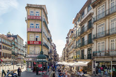 Crowded Streets at Porto Downtown Stock Images