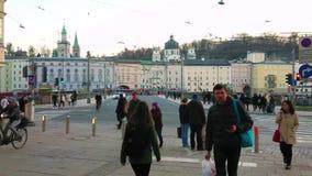 Crowded streets of Salzburg, Austria stock video