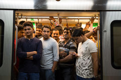 Crowded subway in the rush hour Stock Photos