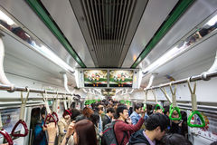 Crowded Subway. Seoul, South Korea - October 24, 2014: A crowded train carriage at rush hour in the Seoul subway, Korea stock images