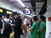 Crowded subway traffic Stock Images