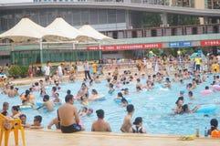 Crowded swimming pool Stock Photo