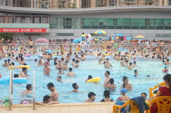 Crowded swimming pool. A lot of people in the swimming. Sports Center in Baoan, Shenzhen, china royalty free stock photography