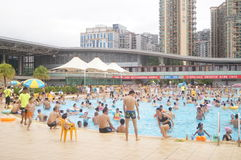 Crowded swimming pool Royalty Free Stock Image