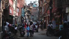 Crowded Thamel Street Centre of Tourism and Shops in Nepal. Editorial Stock Photo