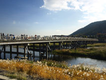 Crowded on Togetsukyo bridge Stock Photos
