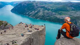 Crowded tourist community and landscapes in norway fjords. Walking routes, exploration and activities of tourists, mountaineers and travelers royalty free stock photos