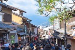 Crowded tourist on shopping street Matsubara-dori. Full of shops and restaurants near Kiyomizu-dera temple in Kyoto stock photo